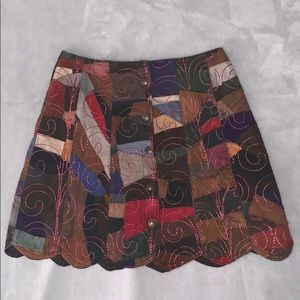 Vintage 70s style a-line button up skirt